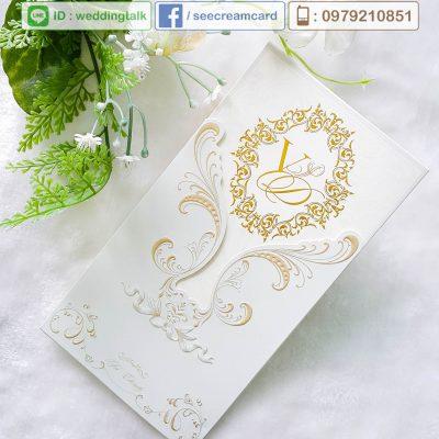 การ์ดแต่งงาน การ์ดแต่งงานปั๊มฟอยล์ทอง โดยสีครีมการ์ด เชียงใหม่ รับทำการ์ดแต่งงาน