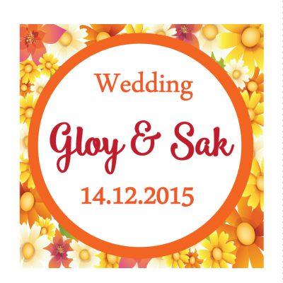 สติกเกอร์ติดของชำร่วย โดยสีครีมการ์ด การ์ดแต่งงาน เชียงใหม่ รับพิมพ์การ์ดแต่งงาน โลโก้งานแต่งงาน