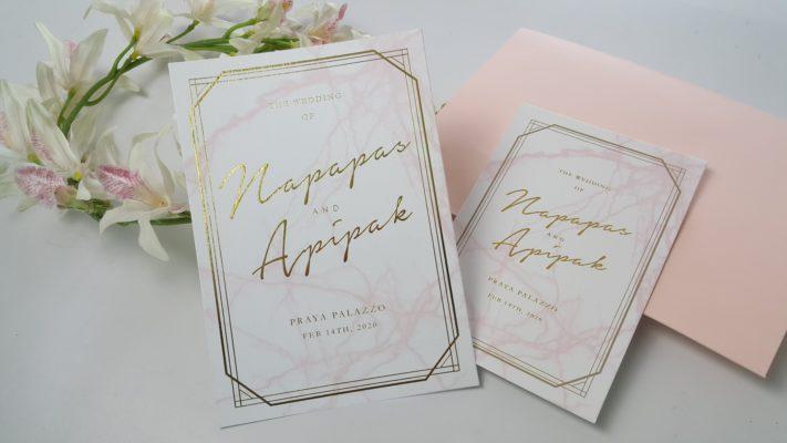 การ์ดแต่งงาน แบบเดี่ยว สไตล์เรียบหรู 2019